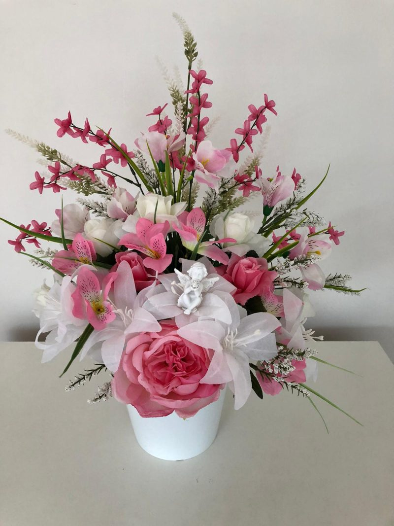 Hand made grave flowers arrangement in pinks.